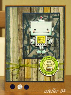 A birthday card fro my friend. The robot stamp is from Pink Cat Studio.