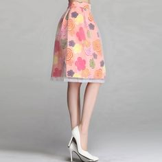Fashion Floral Print A-Shaped Organza Splicing Skirt