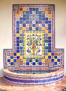 Mosaic Water Feature Wall Ideas That Beautify the House - Southwestern Home Decor, Southwest Style, Spanish Tile, Spanish Colonial, Patio Tiles, Spanish Style Homes, Hacienda Style, Mosaic Garden, Style Tile
