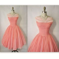 50's Prom Dress // Vintage 1950's Ruched Coral by TheVintageStudio,