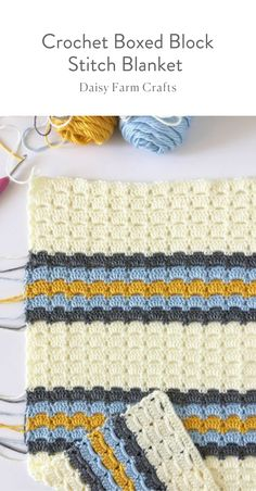 Free Pattern - Crochet Boxed Block Stitch Blanket #crochetbabyblanket #crochetpattern #crochet