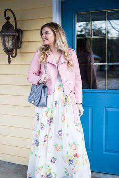 Pantone Color of the Year 2017: Greenery Wearing Asos Floral Maxi, Zara pink Faux Leather Moto, Vince Camuto Booties, Rebecca Minkoff jumbo love bag, baublebar tassel earrings.