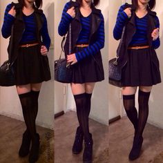 Fall outfit. Stripes and skirt
