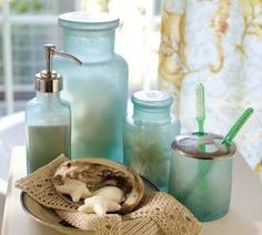 Blue Glass Beach Bathroom Accessories For the Home Pinterest