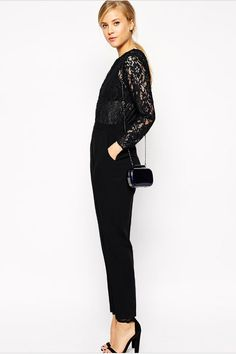 4afdc02730 WOMEN'S FULL SLEEVES LACE ROUND NECK PANT WITH POCKETS JUMPSUIT BLACK  Elegant and vogue! You