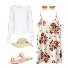 White Spaghetti Strap Floral Loose Dress
