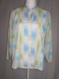 """JH Collectibles Button Front Top Long Sleeve Women's Multi-color. Petite Size XL. Shoulder seam to end of cuff 19"""". Front neckline to bottom hem 21"""". Armpit to armpit 23"""". 