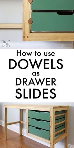 a Desk with Dowel Drawer Slides Drawer slides can be easily made with store bought dowels!Drawer slides can be easily made with store bought dowels! Kids Woodworking Projects, Woodworking Furniture Plans, Woodworking Box, Popular Woodworking, Custom Woodworking, Diy Wood Projects, Woodworking Classes, Woodworking Equipment, Woodworking Quotes
