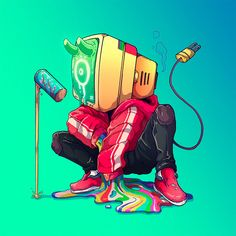 Remarkable 30 Days Illustration Character Designs made by Nathaniel Rueda. All 30 characters have different concepts and inspirations, Character Concept, Character Art, Concept Art, Cartoon Kunst, Cartoon Art, Object Heads, Tv Head, Arte Cyberpunk, Graffiti Characters
