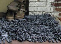 alfombra peluda tiras telas