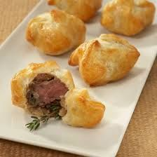 Individual Beef Wellington appetizers