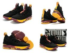 640ebb280a5 2018 Really Cheap 2017 2018 Lebron 15 XV Black Wine Gold Cavs Classic  Color. Basketball ...
