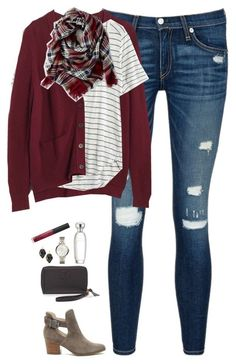 """Burgundy cardigan, plaid scarf & striped tee"" by steffiestaffie & Red Plaid Scarf, Burgundy Cardigan, Plaid Blanket, Maroon Sweater, Red Cardigan Outfit Fall, Black Leggings Outfit Fall, Cute Cardigan Outfits, Maroon Jeans, Pink Cardigan"