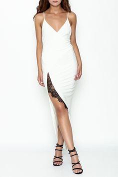 e17a018eddc Deep v cut white dress with a black lace outlined slit. High Slit Dress by