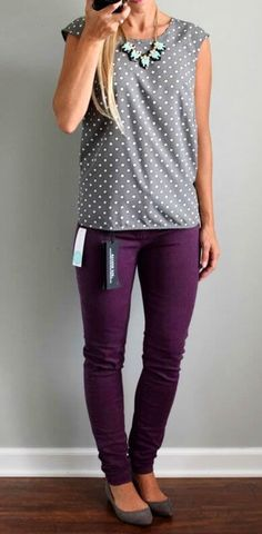 Dear stitch fix stylist- I love these purple Liverpool Adele Skinny Jeans. I would love to have a pair. I also really like the top. Perfect business casual outfit I'm looking for Work Fashion, Fashion Outfits, Women's Fashion, Jeans Fashion, Fashion Ideas, Fashion Trends, Fashion Scarves, 1950s Fashion, Curvy Fashion