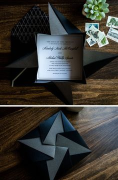Black Origami Wedding Invitation by Penn & Paperie. Modern and Unique Wedding Invitation. See more here Contact: Service - Paper Goods & Calligraphy Website - www.pennandpaperie.com