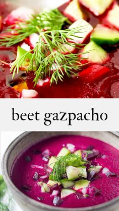 Beet Gazpacho- a simple, delicious chilled beet soup with cucumber, avocado, and fresh dill – healthy and low calorie! Vegan and Gluten-free! Mexican Food Recipes, Soup Recipes, Vegetarian Recipes, Cooking Recipes, Healthy Recipes, Healthy Soup, Avocado Soup, Beet Soup, Chilled Soup