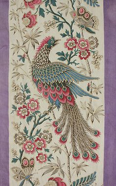 Wonderful antique French printed cotton ~ Lovely Indienne design ~ butterfly bird design ~ purple and jewel tones ~ stunning material ~ from The Textile Trunk ~ www.textiletrunk.com
