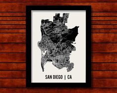 Map wall option - San Diego Map Art City Print 18 x 24 by MrCityPrinting on Etsy, $28.00