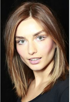 This is the cut I want! This is the cut I need! Short shoulder length with subtle highlights and a honey brown hair color
