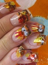 turkey and leaves tips thanksgiving nail art check out www.MyNailPolishObsession.com for more nail art ideas.