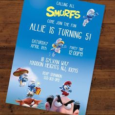 """0 Likes, 1 Comments - Tamara Hahn (@tamaramastudios) on Instagram: """"Smurf's birthday invite! 5x7 with new characters from 'The Lost Village' #smurfpartyfavors…"""""""
