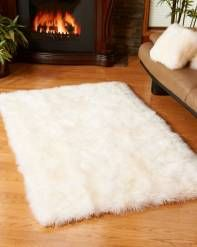 Large Ivory White Sheepskin Area Rug (4x6 ft)