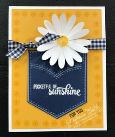 I am in love!! This is my favorite Daisy card I've made! But I waited to post it, because I wanted to send it to my sister in Japan. :) The cheery colors and the gingham ribbon are highlight the Daisy Delight AND the Pocketful of Sunshine bundles PERFECTLY!! And...