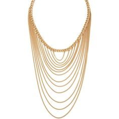 Forever 21 Layered Chain Statement Necklace ($6.90) ❤ liked on Polyvore featuring jewelry, necklaces, chains jewelry, forever 21, multi row necklace, multi strand necklace and multiple strand necklace