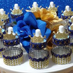 12 Royal Prince Baby Shower Favors / Boys ROYAL BLUE & GOLD Favors / Little Prince or Royal Prince Baby Shower Theme and Decorations