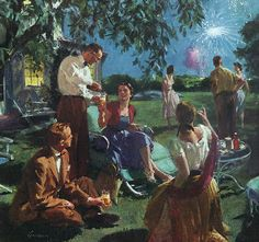 "rogerwilkerson:  ""Friends Over On The Fourth, "" art by John Gannam, 1955."