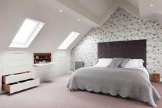 Under eaves built in furniture in loft bedroom