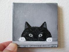 Acrylic Painting on Canvas, Peeking Cat, Cat Painting, Tiny Canvas painting, Miniature Canvas Painting, home decor, wall art, Handmade