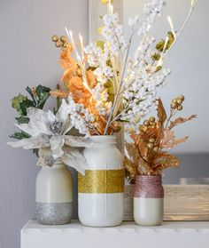 Embrace the shabby-chic look and DIY some sparkly mason jars to use as a centerpiece. | 21 Fun Ways To Have A Fancy And Delicious New Year's Eve