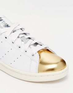 new product efabe bac6c Image 4 of adidas Originals Stan Smith White  Gold Toe Cap Trainers Adidas  Originals Stan