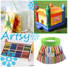 Art party ideas -- cool cookies, and check out the awesome art apron.