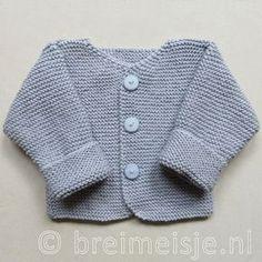 Kun je breien, dan kun je dit babyjasje maken! Het jasje is geschikt voor een pasgeboren baby (maat 50-56). Het patroon bestaat geheel uit rechte steken (ribbels) en is te koop in de shop van Breimeisje (ook in maat 62-68). Het breipatroon is gedetailleerd, pen voor pen uit geschreven en inclusief foto's. Op dit patroon hoef je niet te puzzelen. Breien moet ontspannend zijn :-)