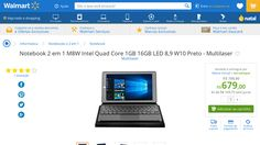 [Wal-Mart] Notebook 2 em 1 M8W Intel Quad Core 1GB 16GB LED 8,9 W10 Preto - Multilaser 3431355 por R$ 679,00