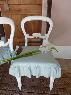 Seat Cover. Ruffled Linen Seat/Chair Cover. by oscarandfrenchlinen