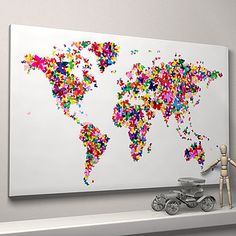 Butterflies world Map ready-to-hang canvas
