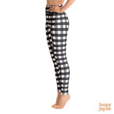 Black Checkered Yoga Leggings // Women's Leggings // Black Plaid Leggings // Yoga Pants // Lumberjack Leggings // Workout Leggings