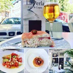 """Having a great #lunch at La Perla Cafe on Ave. Gran Capitan ( a beautiful tree lined shopping street in #Cordoba new city just a couple blocks from the historic core). A """"reconstructed 3-decker"""" sandwich of thin bread crab salad tomato cream cheese with smoked salmon the top layer was a savory creation for a knife & fork.  A cooked seafood ceviche-like salad w/ avocado tomatoes salt cod & shrimp was light & refreshing and I was brought a tapa of traditional #salmorejo (tomato/bread/garlic…"""