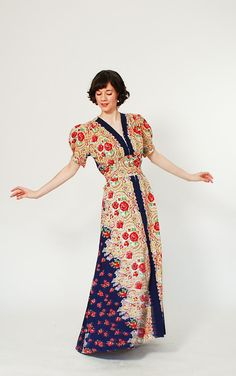 1940s Dress - 40s Maxi Dress - Spanish  Rose