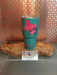 Yeti cup, yeti rambler, yeti tumbler. A personal favorite from my Etsy shop https://www.etsy.com/listing/470731717/all-states-available-monogram-yeti-cup