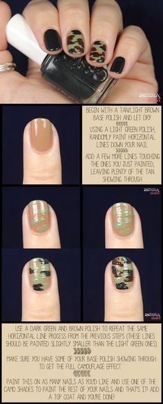 Tour of Beauty: Camo Nails Get Nails, Love Nails, How To Do Nails, Pretty Nails, Hair And Nails, Crazy Nails, Camouflage Nails, Diy Camo Nails, Camo Nail Art