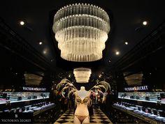 Victoria's Secret Flagship Store on New Bond Street, London. Prop Studios   FormRoom   Bespoke Lighting   Glass Chandelier   Luxury