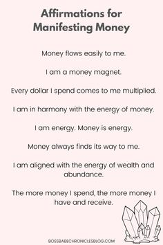 Positive Self Affirmations, Positive Affirmations Quotes, Wealth Affirmations, Law Of Attraction Affirmations, Affirmation Quotes, Affirmations For Money, Healing Affirmations, Morning Affirmations, Quotes Positive