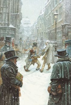 from A Christmas Carol by Charles Dickens. a London street. Illustrator P. from A Christmas Carol by Charles Dickens. a London street. Illustrator P. Christmas Scenes, Christmas Past, Christmas Books, A Christmas Story, Victorian Christmas, Vintage Christmas, Dickens Christmas Carol, Ebenezer Scrooge, Victorian London