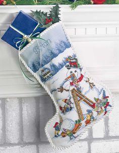 Christmas Stockings Cross Stitch Patterns snowman cross stitch personalized pattern