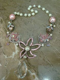 Pretty in Pink repurposed jewelry necklace by ltl blonde, via Flickr